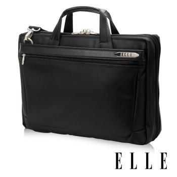【ELLE HOMME】紳士皮革公事包14吋筆電置物層 側背手提兩用設計(黑EL74164A-02)