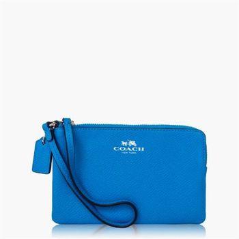 COACH 攜帶便利 皮革 / 零錢收納 / 手拿包(小款)_水藍
