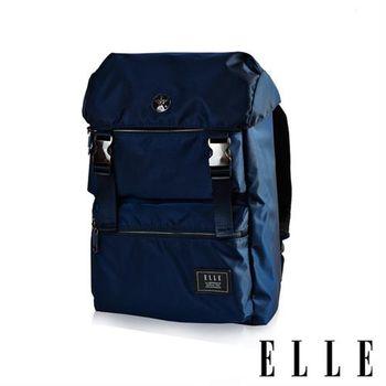 【ELLE HOMME】獨特巴黎鐵塔設計休閒風格 機能後背包(藍 EL83881-42)