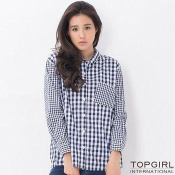 【TOP GIRL】長版格子襯衫-女(丈青藍)