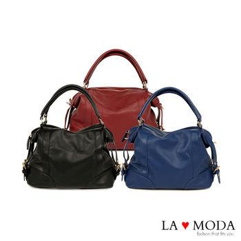 La Moda 通勤必備超大容量荔枝紋2Way 肩背斜背手提包 (三色)