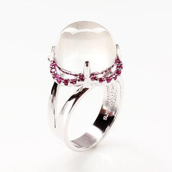 【寶石方塊】丹心碧血天然月光石戒指-925純銀飾