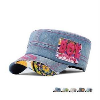 【米蘭精品】牛仔帽做舊軍帽個性破洞BOY字母73da35