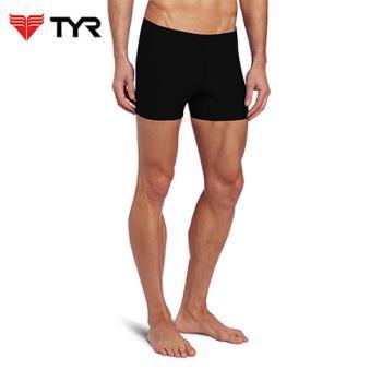 美國TYR男用四角黑色訓練款泳褲Solid Boxer Trunk