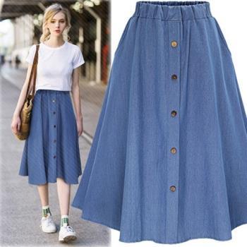 (現貨+預購 RN-girls)-【M2240】歐美夏季新款高腰顯瘦百搭A字牛仔裙
