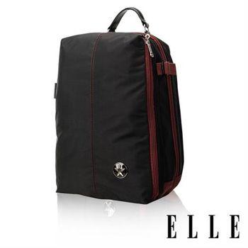 【ELLE HOMME】時尚巴黎風格12吋筆電扣層輕量防潑水休閒後背包(黑色EL83840-02)