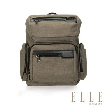 【ELLE HOMME】精湛優雅紳士風範13吋筆電扣層極致機能後背包(駝色EL83835-76)