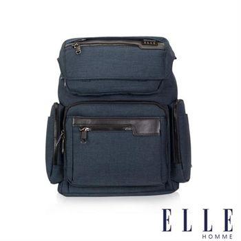 【ELLE HOMME】精湛優雅紳士風範13吋筆電扣層極致機能後背包(深藍色EL83835-08)