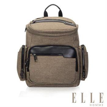【ELLE HOMME】精湛優雅紳士風範13吋筆電扣層極致機能後背包(駝色EL83832-76)