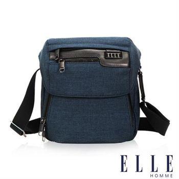【ELLE HOMME】精湛優雅紳士風範 IPAD扣層直式掀蓋休閒側背包(深藍色EL83461-08)