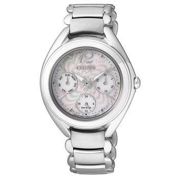 CITIZEN L系列 銀色愛戀光動能三眼女用腕錶-銀/34mm/FD2020-54D