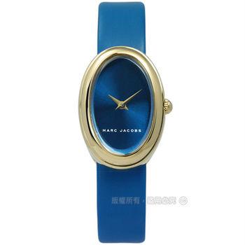Marc Jacobs / MJ1455 / 簡約清新質樸北歐風真皮手錶 藍x金框 20mm