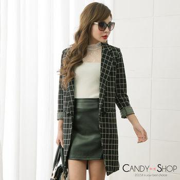 Candy小舖 韓版格子西裝長外套 - 黑色