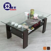 【Amos】時尚收納8mm強化玻璃茶几桌