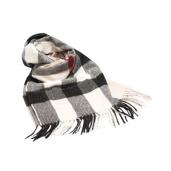 BURBERRY 經典方格紋喀什米爾羊毛披肩/圍巾(200CM-石灰色)