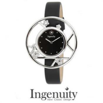 Ingenuity 時尚典雅女錶梅花款 銀色黑面 精典黑皮帶