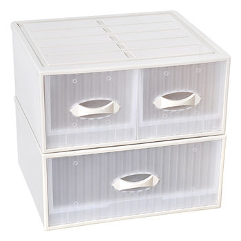 【SONA MALL】亞米單層抽屜整理箱 2入(單抽+雙抽)