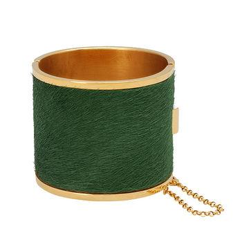 CELINE 經典Manchette金屬鏈條裝飾馬毛大手鐲(綠)