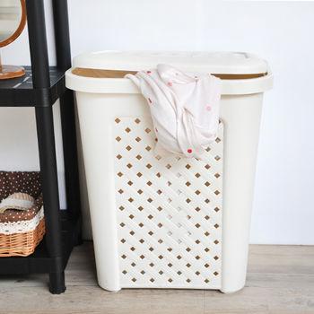 SONA MALL附蓋洗衣籃-古典藤蔓(57公升)