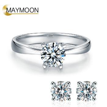 MAYMOON 永恆經典 30分天然鑽石戒指耳環組(經典四爪鑲)