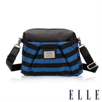 【ELLE】法式優雅海軍風搭配質感頭層皮 時尚淑媛休閒側背包(藍黑EL83466A-02)