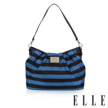 【ELLE】法式優雅海軍風搭配質感頭層皮 時尚淑媛休閒側肩包(藍黑EL83465A-02)