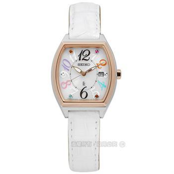 SEIKO 精工 / V137-0CE0S.SUT292J1 / LUKIA 奢華氣質名媛風太陽能鱷魚皮手錶 白x玫瑰金框 25mm