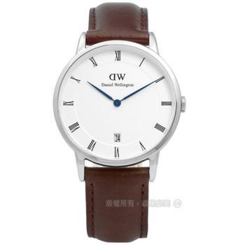 DW Daniel Wellington / DW00100098/ Dapper 經典羅馬樸實高雅學院風真皮手錶 白x深褐 34mm