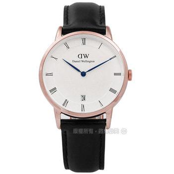 DW Daniel Wellington/ DW00100092 / Dapper 經典羅馬樸實高雅學院風真皮手錶 白x玫瑰金框x黑 34mm