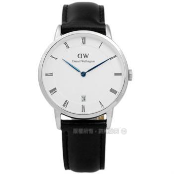 DW Daniel Wellington / DW00100096 / Dapper 經典羅馬樸實高雅學院風真皮手錶 白x黑 34mm