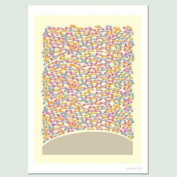 【摩達客】西班牙知名插畫家Judy Kaufmann藝術創作海報掛畫裝飾畫-塞車(附Judy本人簽名)(含木框)