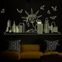 窩自在★DIY無痕創意夜光牆貼/壁貼_紐約夜景_ABQ9622-行動
