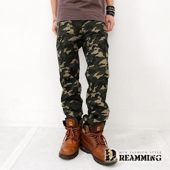 【Dreamming】韓風BIGBANG天團穿搭伸縮迷彩休閒長褲(綠色)