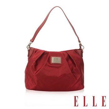 【ELLE】法式優雅時尚風貌百褶包淑媛搭配質感頭層皮側背/手提包款(酒紅EL83465B-20)