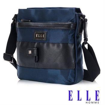 【ELLE HOMME】時尚閃耀 側背包 IPAD層 搭配頂級頭層皮亮系設計(藍EL83399-08)