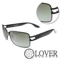 【Lover】精品方框墨綠亮黑太陽眼鏡(9301-C02)
