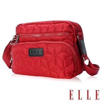 【ELLE】優雅淑媛 立體緹花壓紋ipad扣層 橫式休閒側背包設計款(紅EL83432-01)