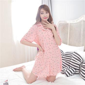 【MFN蜜芬儂】甜蜜小貓 男朋友風格襯衫式睡衣