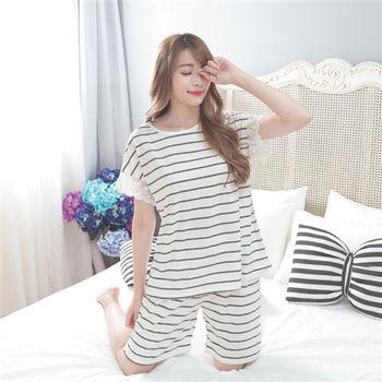 【MFN蜜芬儂】蕾絲條紋棉質居家睡衣(3色)