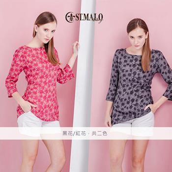 ST. MALO100%天然頂級亞麻玫瑰圓領七分袖襯衫-1417WS