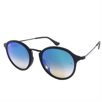 【Ray Ban 雷朋】2447F-90140-49 亞洲版-復古圓框太陽眼鏡(黑框-水銀漸層藍鏡面)