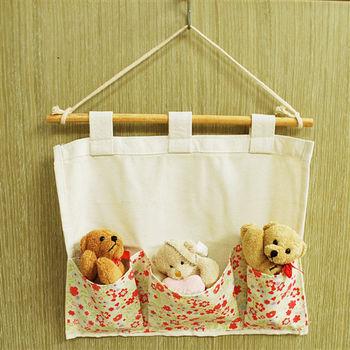 (買一送一)【樸生活】日式小碎花帆布收納掛袋
