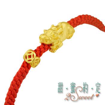 【甜蜜約定】招財貔貅純金蠟線手鍊1794