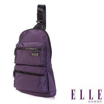 【ELLE HOMME】時尚火紅IPAD側背包搭配皮革防潑水尼龍 精品設計款(紫EL83783A-24)