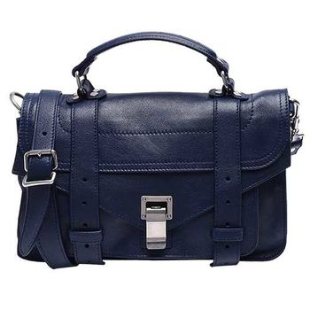 Proenza Schouler PS1 TINY LUX山羊皮手提斜背包(小-靛藍)