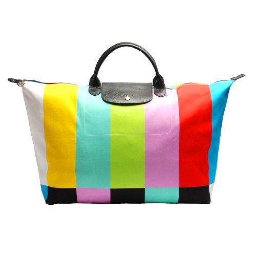 LONGCHAMP限量款Jeremy Scott Color Bar短把旅行購物包(大)