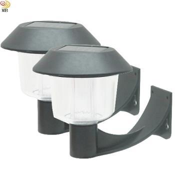 月陽彎月型太陽能燈充電自動光控LED庭園燈壁燈超值2入(5004C2)