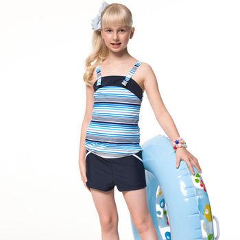 【SAIN SOU】泡湯SPA少女二件式連身褲泳裝附泳帽A92651