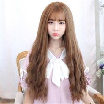 【米蘭精品】長假髮整頂假髮韓風甜美玉米燙2色