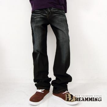 【Dreamming】電繡後口袋刷色伸縮單寧中直筒褲-行動